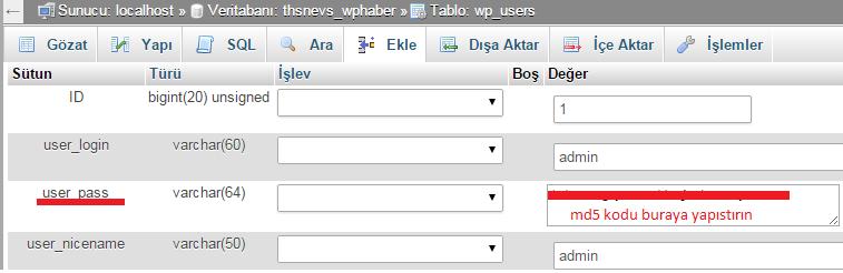 wp_users veri tabanı