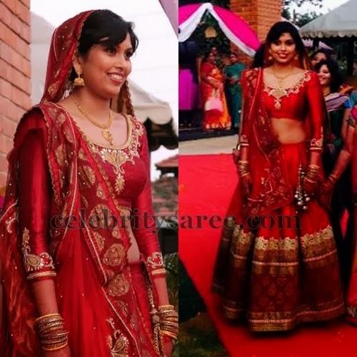Bride In Varuna Jithesh Lehenga Saree Blouse Patterns