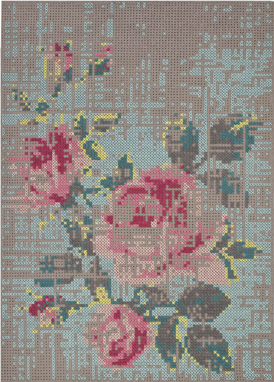 Follyandglee cross stitch from the wall to the floor for Cross stitch wall mural