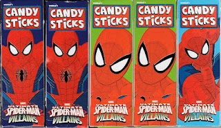 Back view of Ultimate Spider-Man Villains Candy Sticks boxes set one