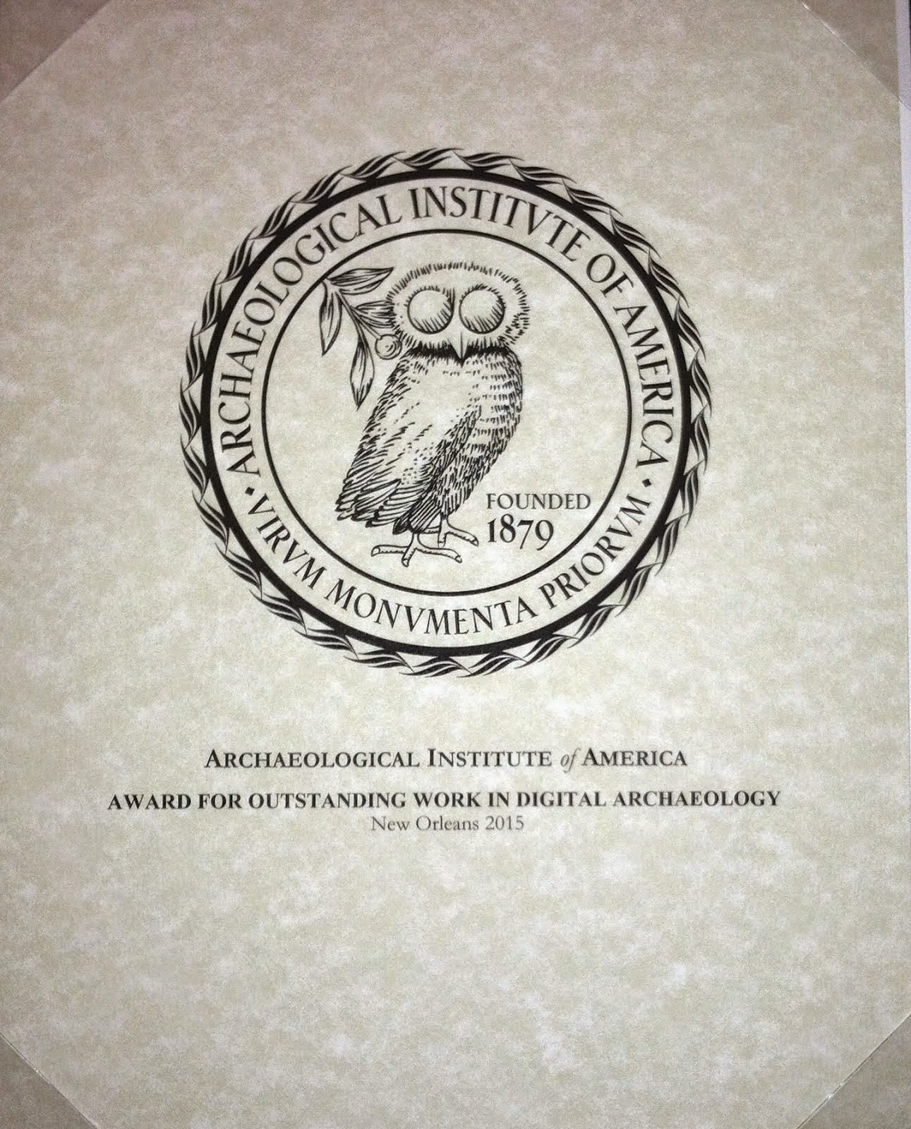Winner of the AIA Award for Outstanding Work in Digital Archeology 2015