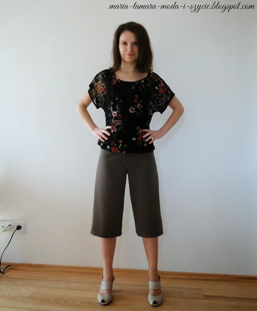 brązowe spodnie za kolano