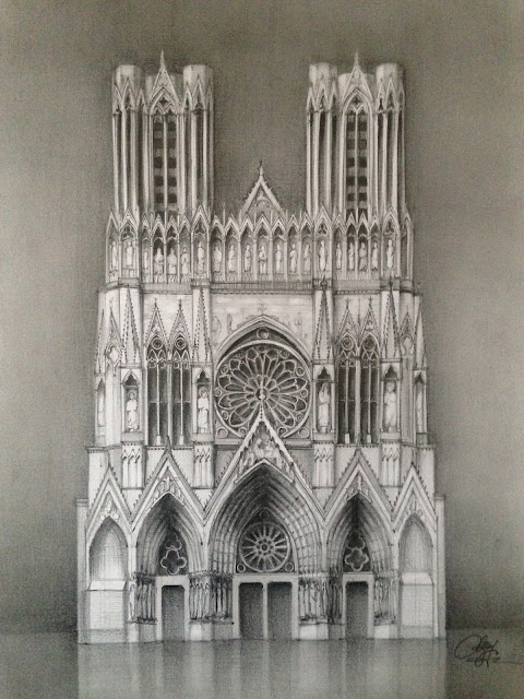 Reims Cathedral – Pencil drawing