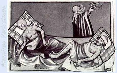 Gravura retratando a Peste Negra medieval com um religioso dando suas bençãos. Extraida da Bíblia de Toggenburg (1411)