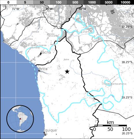 Epicentro sismo 5,5 frontera Perú-Chile, 29 de Enero 2014