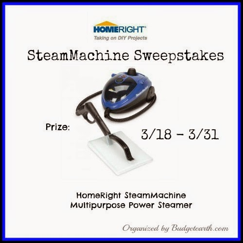 Enter the Homeright SteamMachine Giveaway. Ends 3/31.
