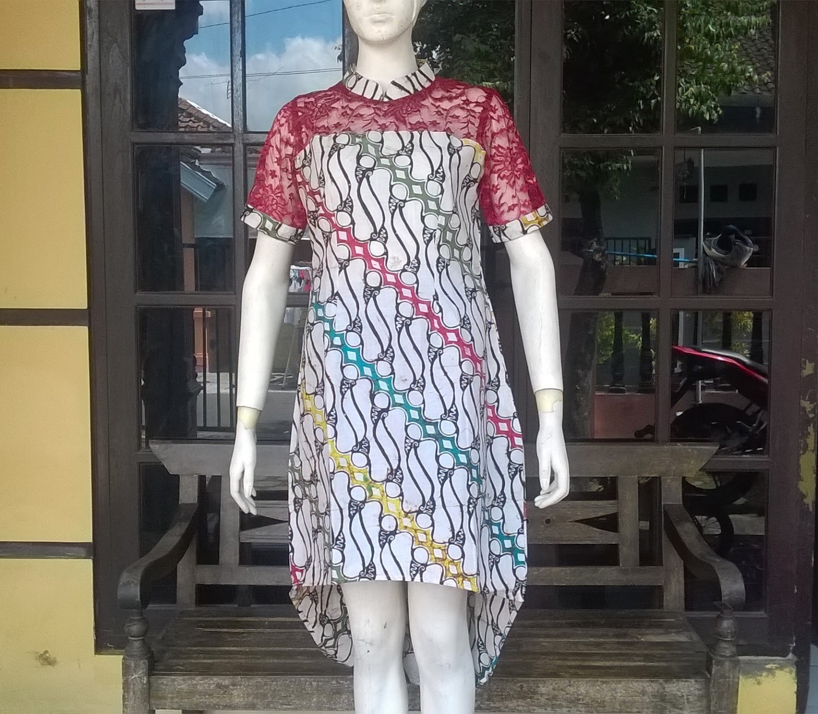 Long dress batik kombinasi
