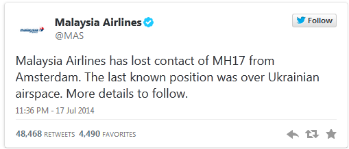 Malaysia Airlines has lost contact of MH17 from Amsterdam. The last known position was over Ukrainian airspace. More details to follow.