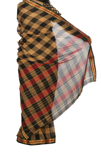 Cream Color Narayanpet Checks Cotton Saree