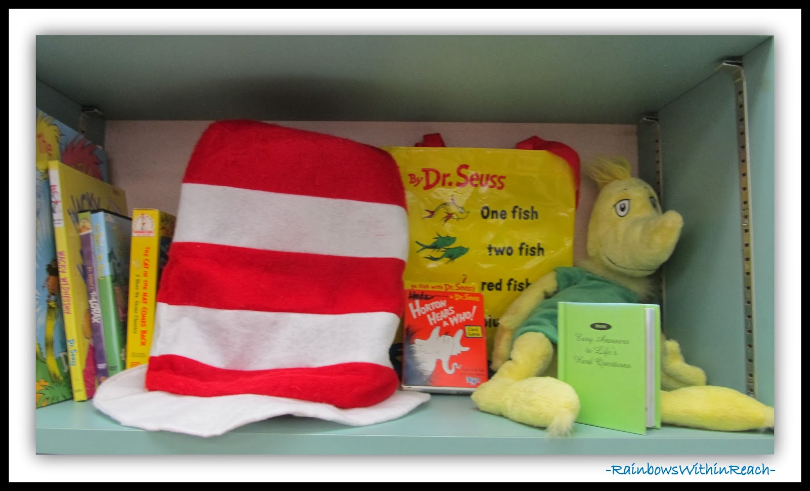 Seuss Display in the Classroom Library via RainbowsWithinReach