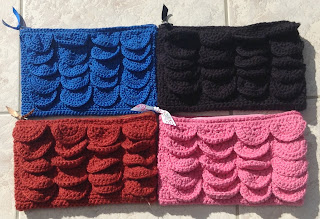 crochet pouch made with crocodile stitch