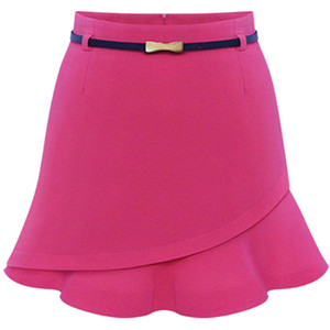 Whitchic rose red asymmetric flounce skirt