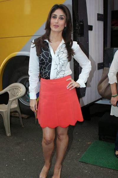 Kareena Kapoor Khan in red skirt on sets of heroine film