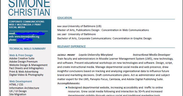 the two-column resume option
