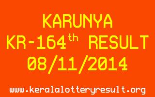 KARUNYA Lottery KR-164 Result 08-11-2014