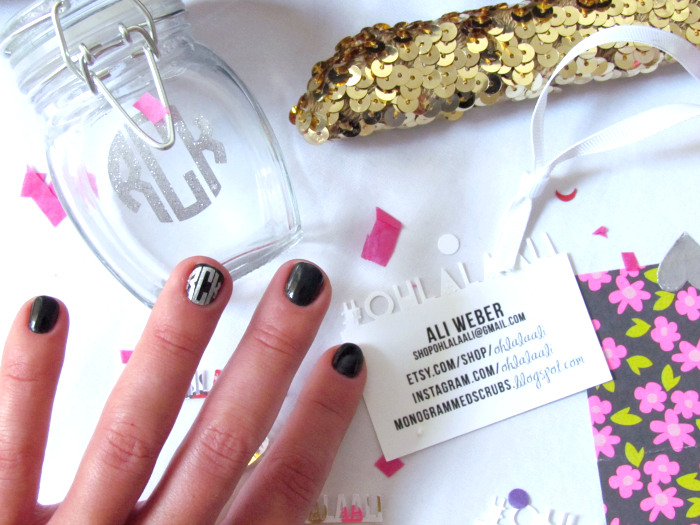Circle monogram nail decals by @OhLaLaAli on Etsy!