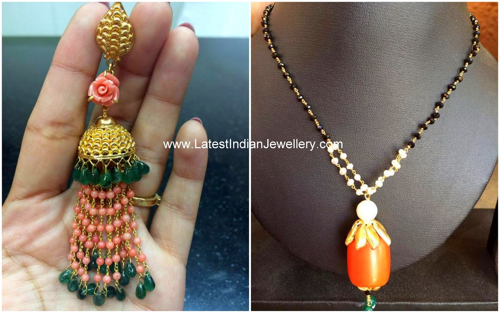 Coral Black Beads and Jhumki