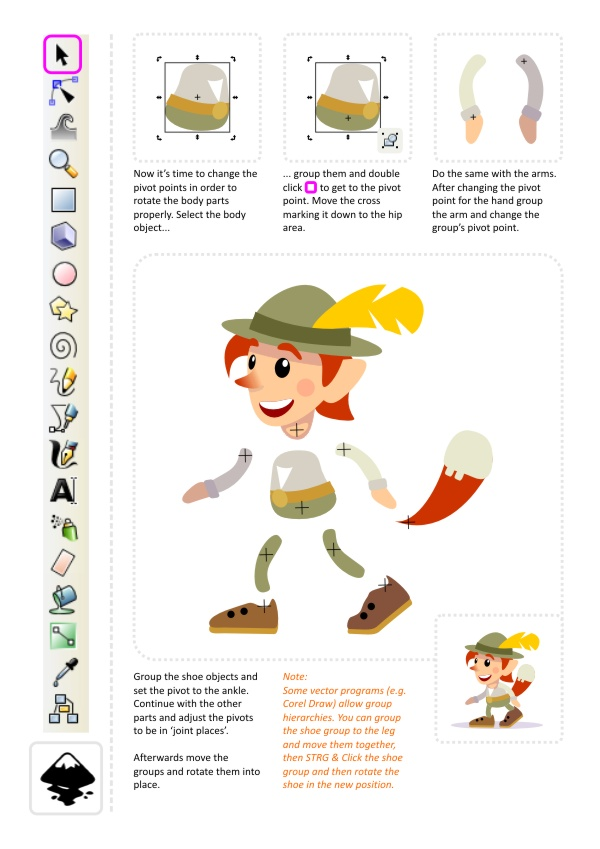 Inkscape Character Design Tutorial : Creating a game character d art for programmers