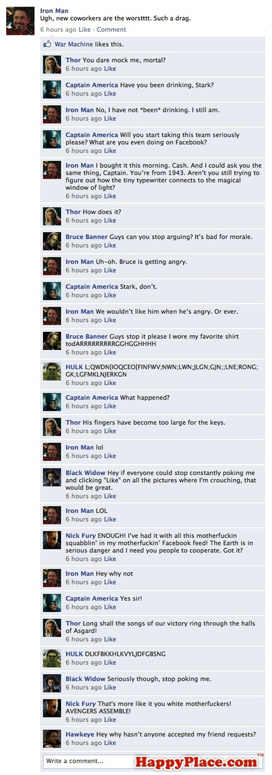 What if The avengers were on Facebook?, funny, facebook, funny picture, movie