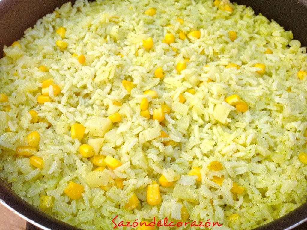 Saz n del coraz n arroz verde for Cocinar 2 tazas de arroz
