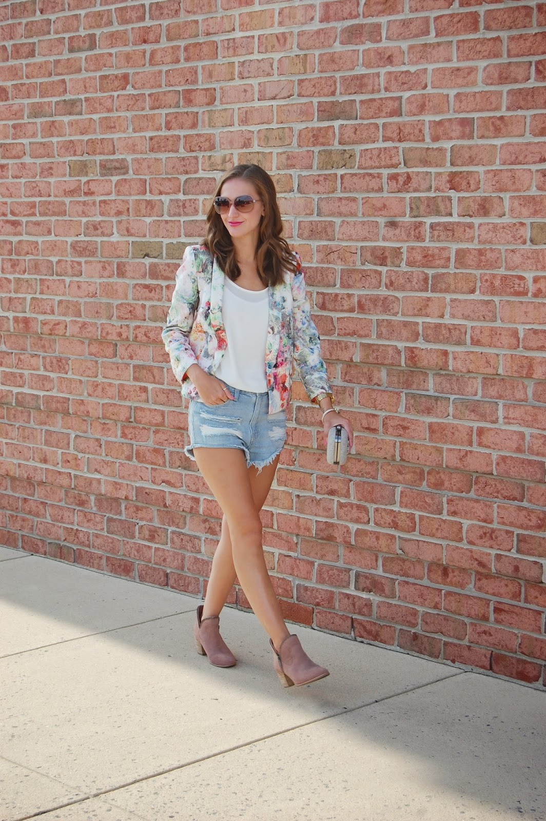 Wearing Zara Floral Printed Blazer, Vince Camuto Chiffon Blouse, Forever21 Distressed Denim Shorts, Ankle Zip Booties