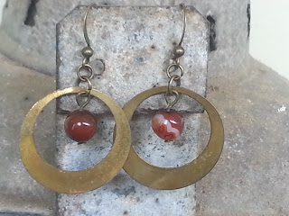 antique brass hoops with recycled agate bead earrings