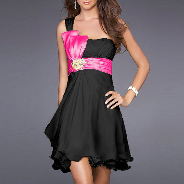 My Party Dresses: Black/pink ribbon party Dress