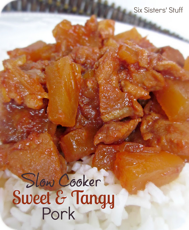 Slow Cooker Sweet and Tangy Pork Recipe | Six Sisters' Stuff
