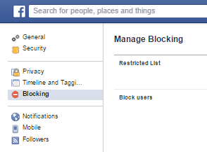 Facebook Manage Blocking | Ongtrovert