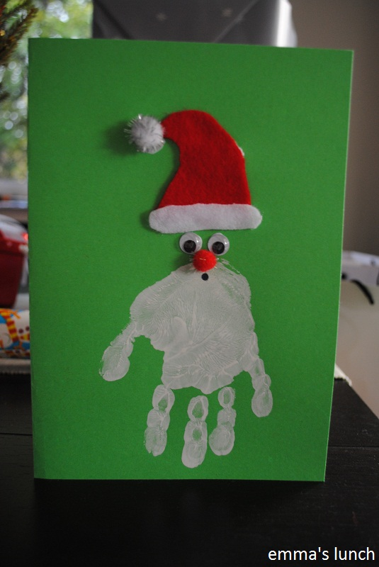 emma s lunch handprint santa christmas card