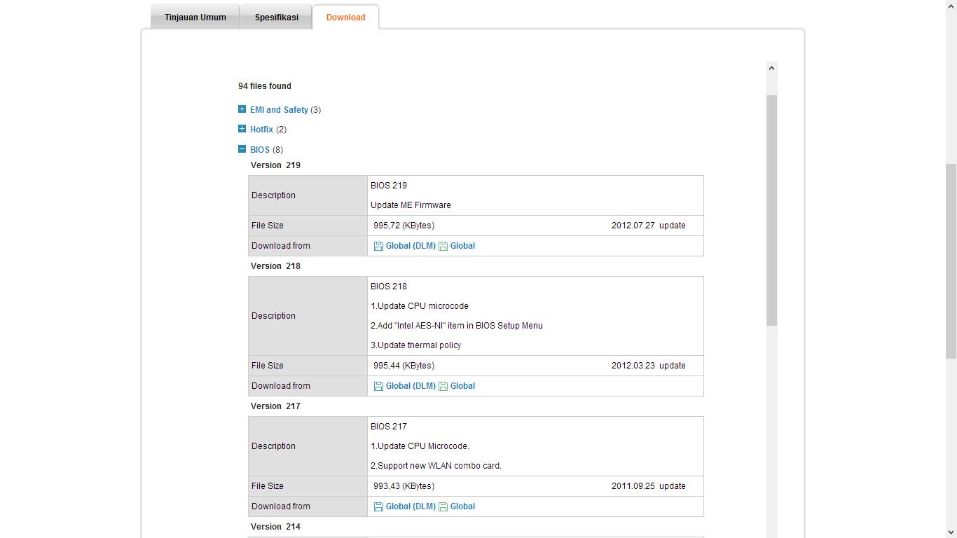 Pertama download update bios disitus resmi Asus yang bisa di download ...
