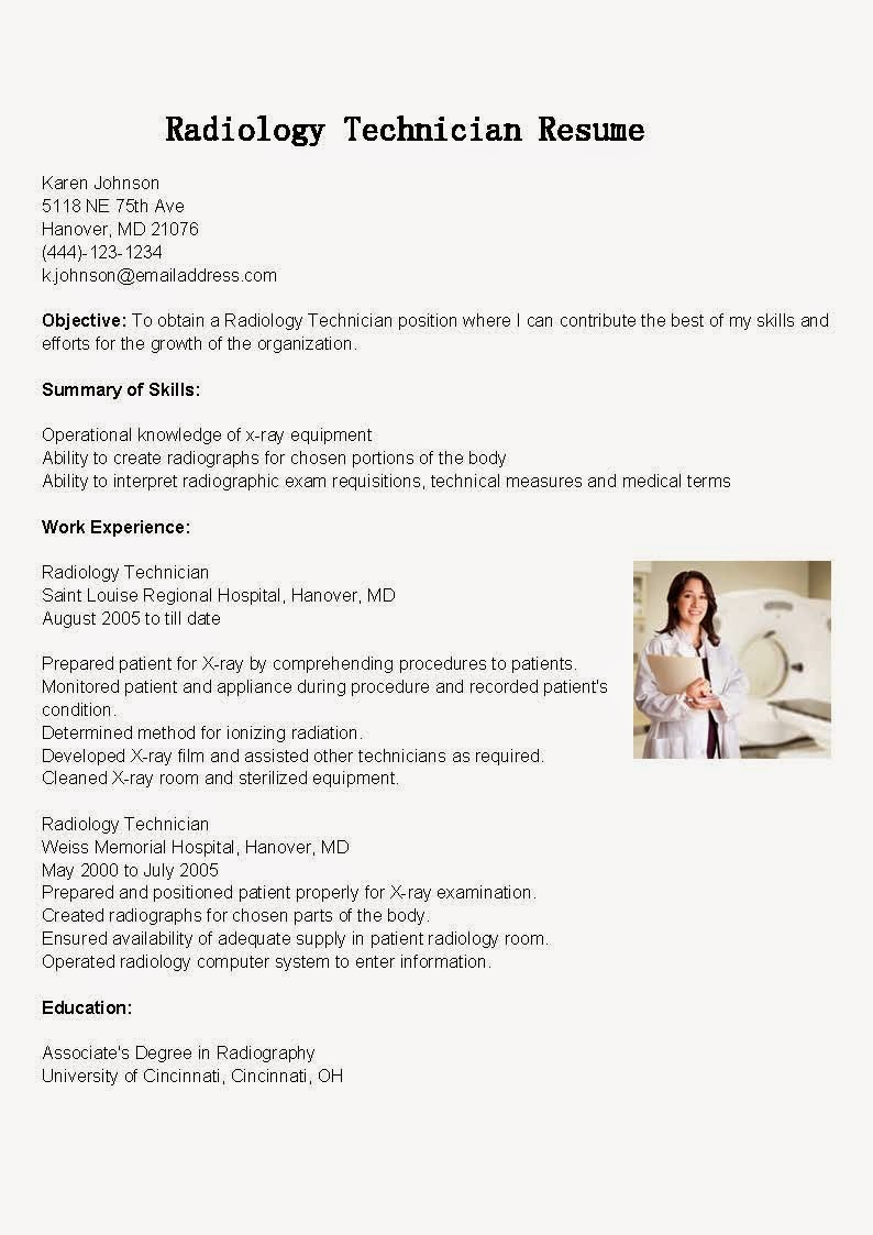 resume samples  radiology technician resume sample