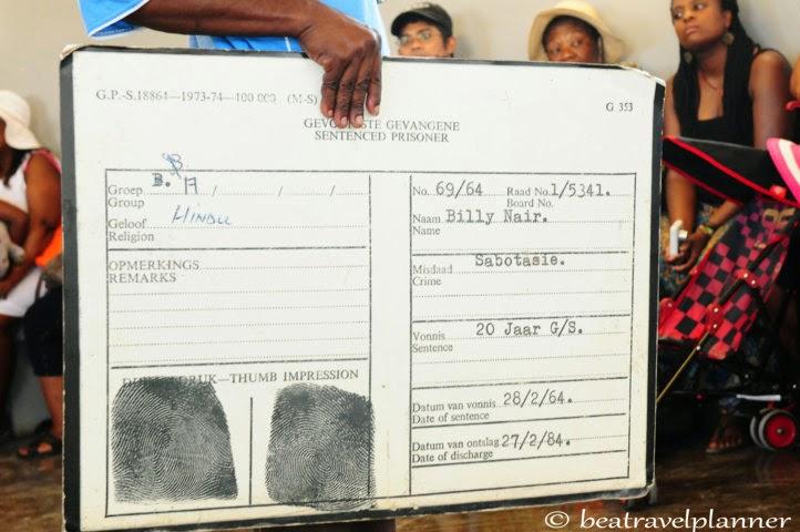 Robben island - scheda detenuti