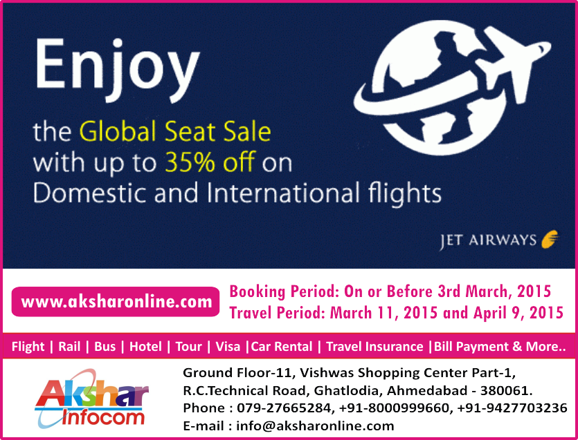 Enjoy the Globe Seat Sale...with up to 35% off on JetAirways Domestic and International Flight Ticket