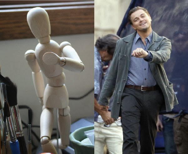 Drawing Mannequin posed like Leonardo DiCaprio walking