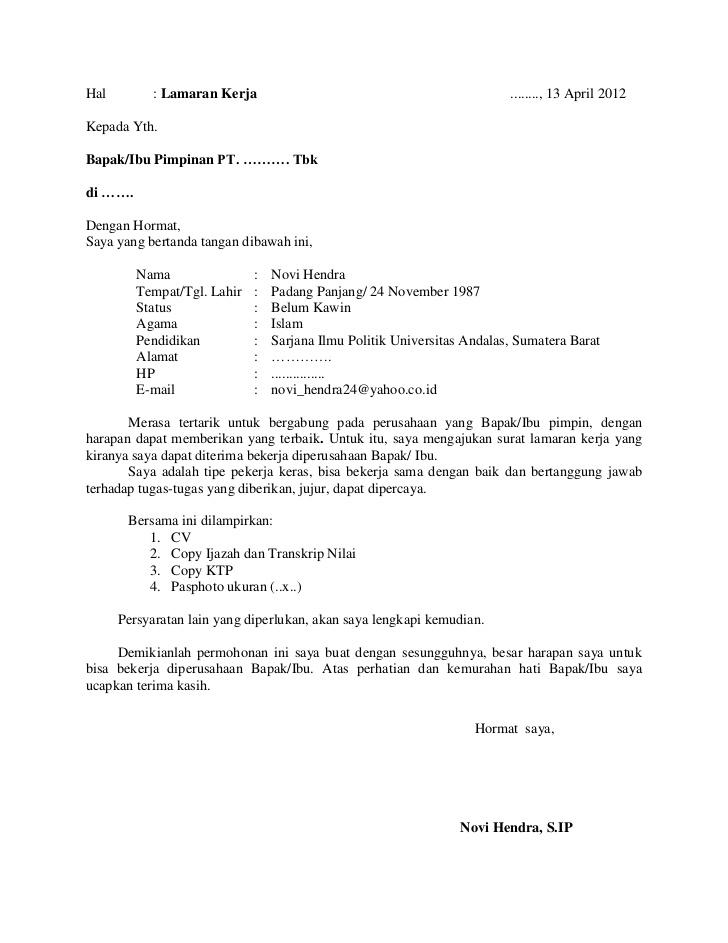 Contoh Surat Lamaran Kerja Umum Yang Baik Dan Benarhtm