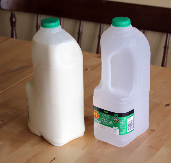 how to clean out plastic milk jugs