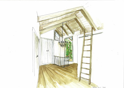 Dibujo de rellano de escalera hecho con técnica mixta