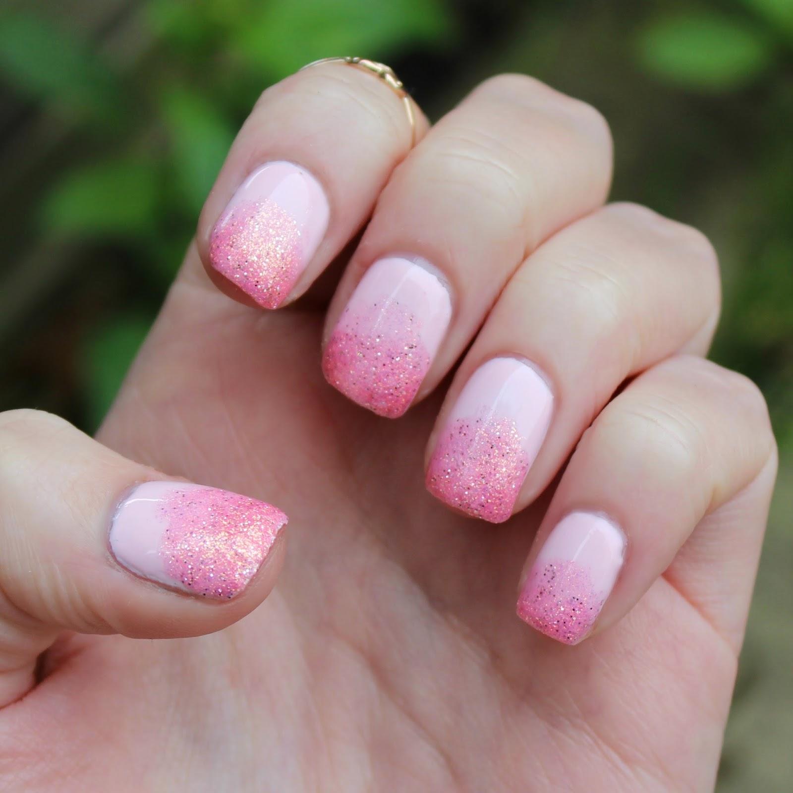 Dahlia Nails: Pink Glitter Fade