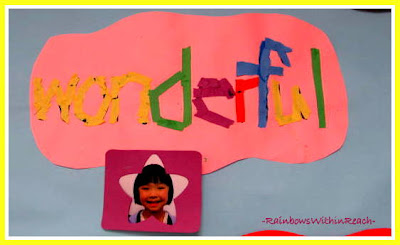 "photo of: Kindergarten ""Wonderful"" Mosaic in Response to ""You're Wonderful"" by Debbie Clement"