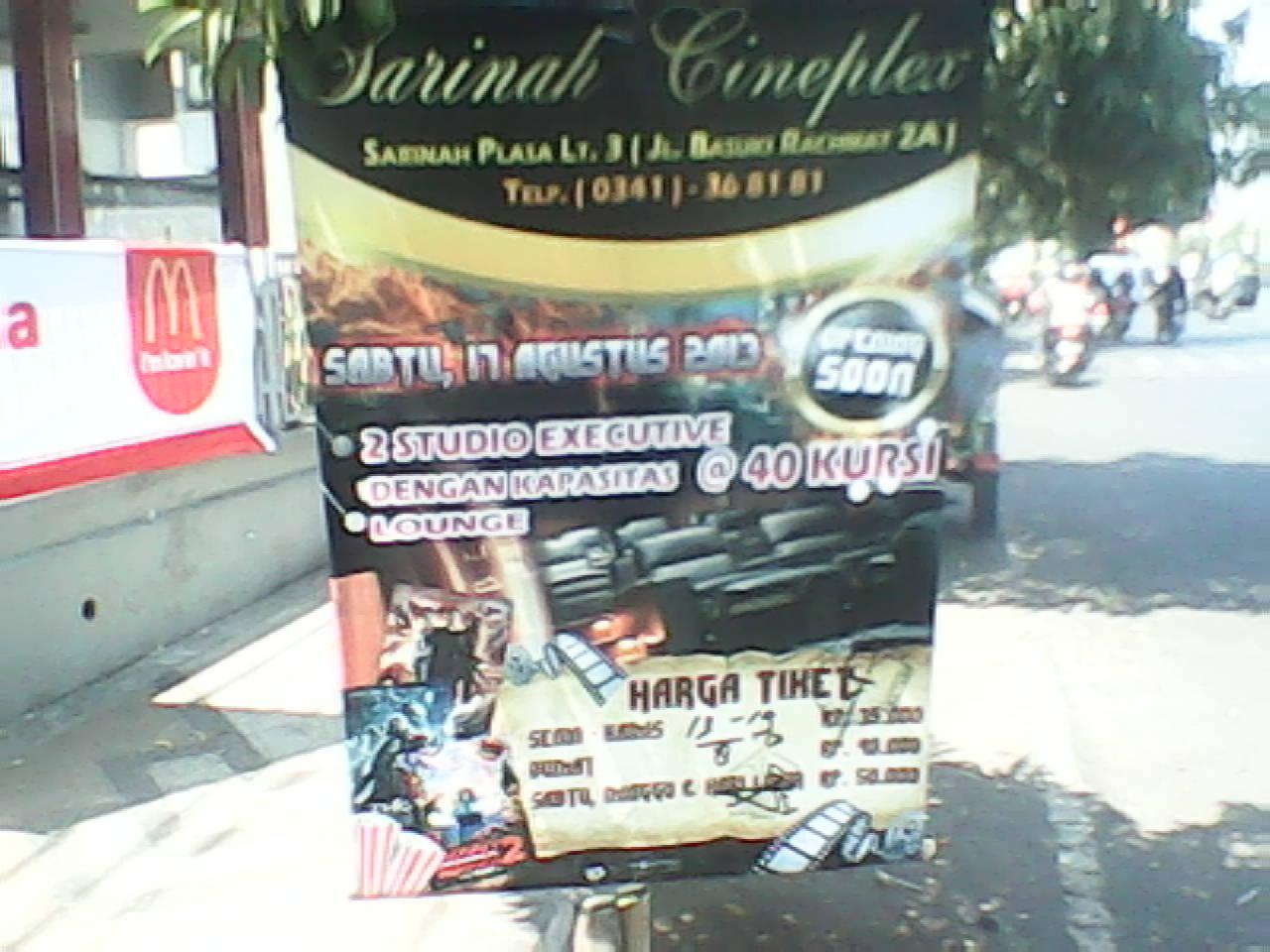 Sarinah Cineplex Malang Bioskop Independent Premierre Baru Malang