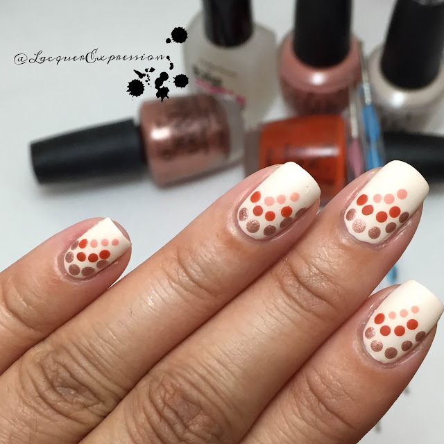 Fall-themed dotticure using polishes from the OPI Venice collection