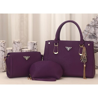 PRADA DESIGNER BAG (3 IN 1 SET) - PURPLE