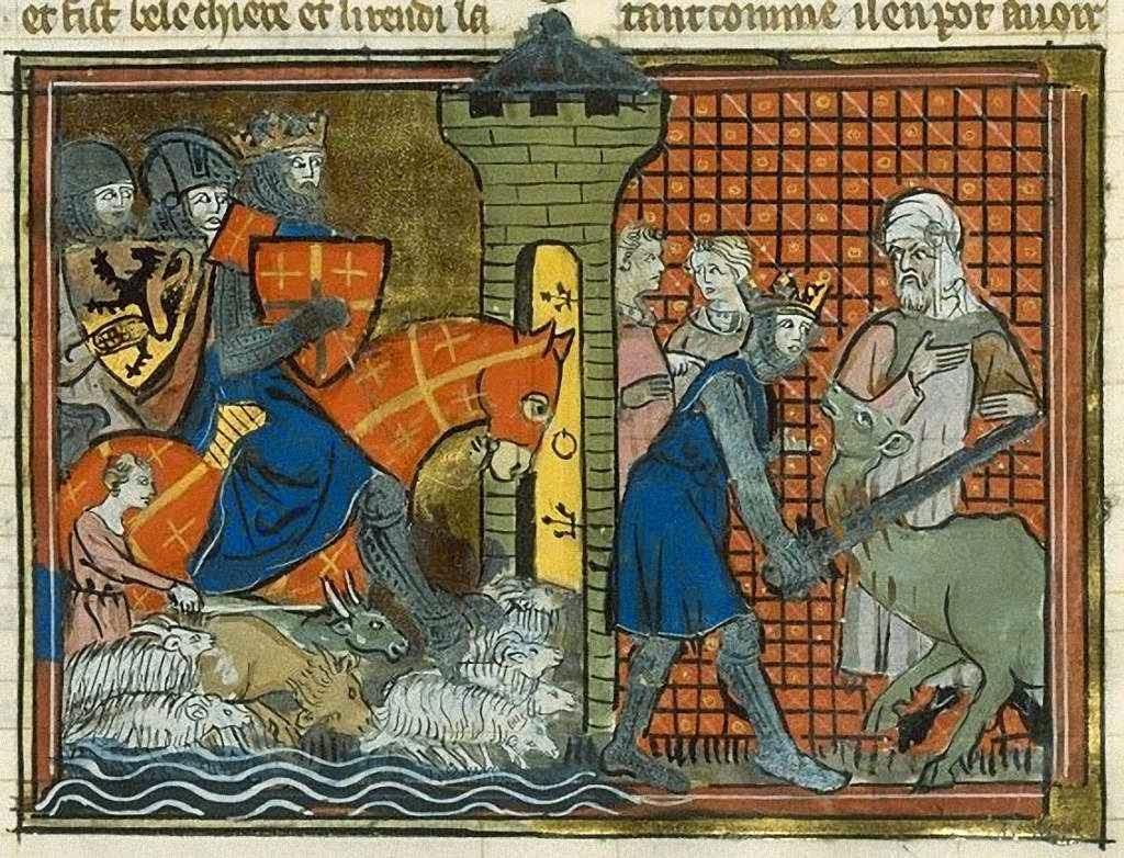 Godofredo de Bouillon corta a cabeça de um camelo de uma espadagada só.