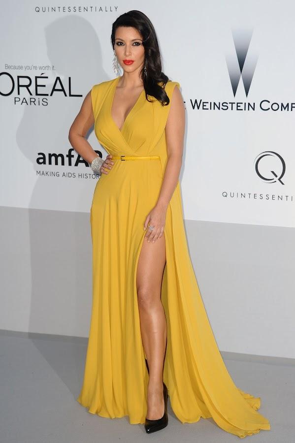 Kim Kardashian wearing a high split dress