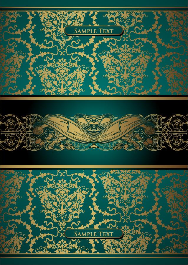 豪華な金色レース飾りの背景 european gorgeous gold lace pattern イラスト素材1