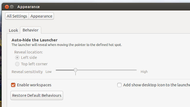 enable Workspaces for Ubuntu 13.04