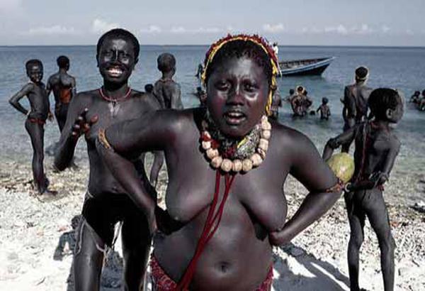 Andamanese tribal people at