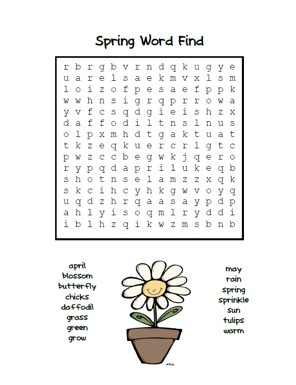 Fun For First: Happy Monday . . .Spring Word Find