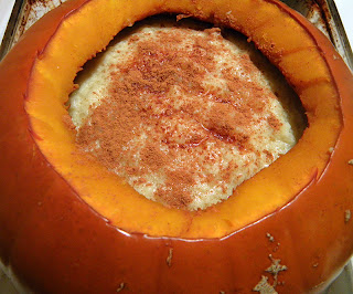 Pumpkin Filled with Tapioca and Topped with Cinnamon